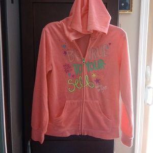 Girls Pink Sweatshirt with hood and zipper up.
